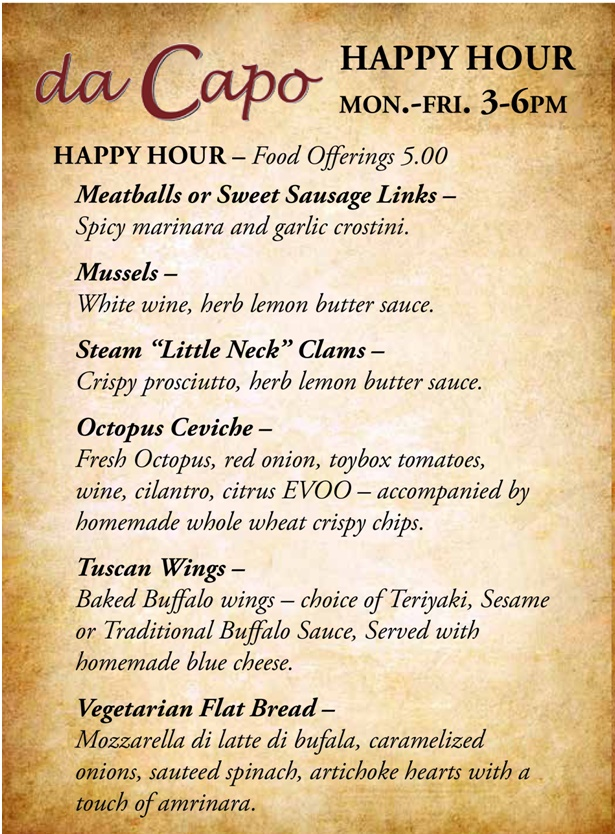 Da Capo Happy Hour Food